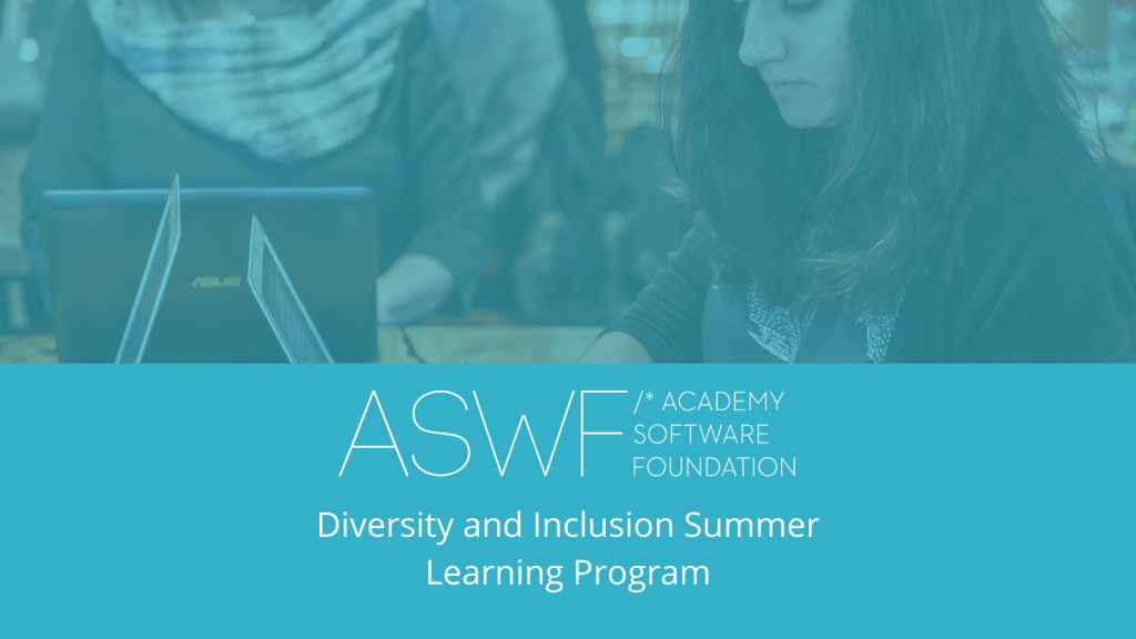 Woman coding ata table with text ASWF, Academy SOftware Foundation Diversity and Inclusion SUmmer Program.