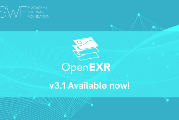 """OpenEXR logo on blue background with text """"v3.1 Available now!"""" underneath"""
